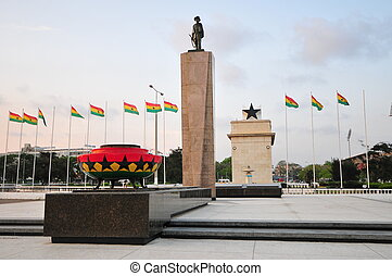 Public square in Ghana which contains moments to the independence of Ghana, including the Independence Arch