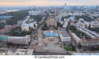 Independence Square in Kyiv, Ukraine Aerial