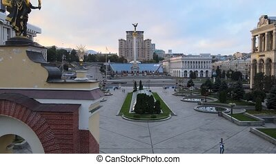 Independence Square in the morning. Kyiv, Ukraine. Aerial view