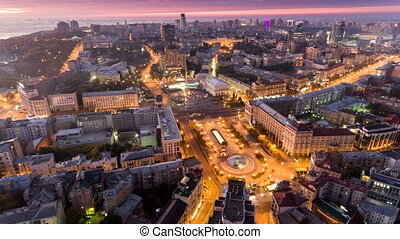 Independence Square. Ukraine. Aerial view. City center....