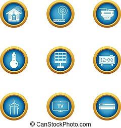 Independent energy icons set, flat style