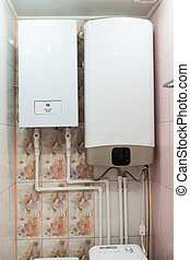 Independent heat-recovery boiler with white hot water tank, domestic heating system