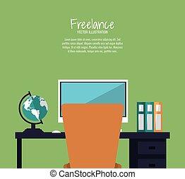 independiente, trabajo, diseño, espacio