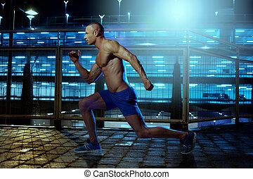inderside, unge, exercising, atletisk, guy, bygning