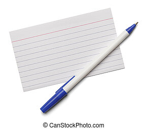 Index Card Pen - Blank note index card with blue pen...