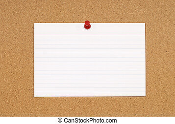 Index card - Cork notice or bulletin board with blank white...