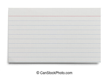 Index Card - Blank White Index Card With Lines Isolated on...