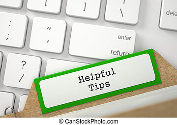 Index Card with Helpful Tips. 3D. - Helpful Tips. Green...