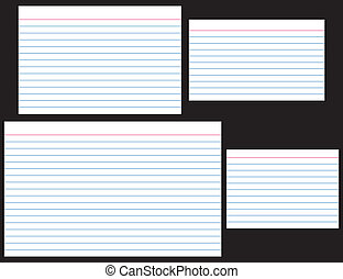 "Index Cards in four popular sizes: 4"" x 6"", 3"" x 5"", 5"" x..."