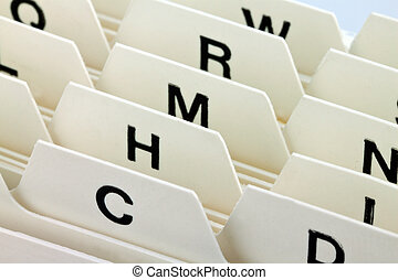 alphabetical index to sort index cards. customer addresses and patient data.