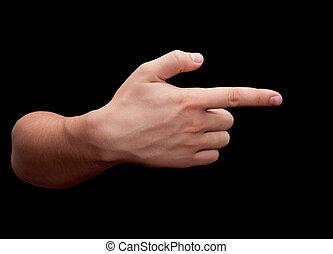 Index finger on black background