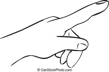 Index Finger Pointing Forward - Vector illustration of a...