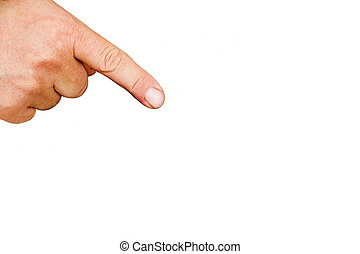 Index finger pointing isolated on white background