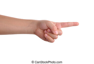 Index finger pointing isolated with clipping path included -...