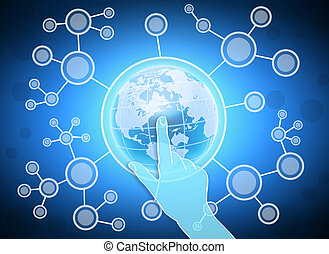 index finger presses on planet. DNA molecules from globe. -...