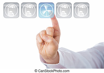 Index Finger Selecting Blue Wind Energy Icon - Index finger...