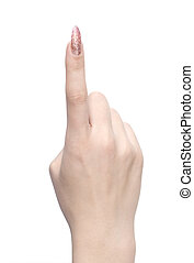index finger series - woman index finger isolated on a white...