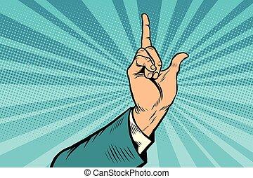 index finger up gesture, pop art retro vector illustration