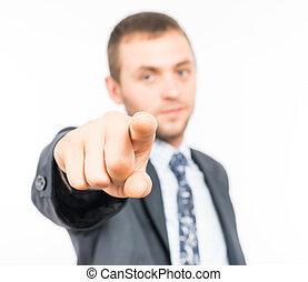 index, geschäftsmann, finger, junger, punkt