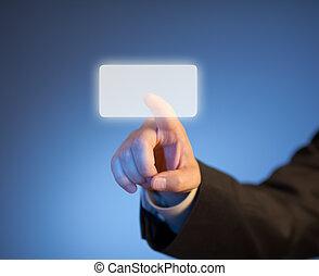 index, touchscreen, taste, virtuell, drücken, finger, abstrakt