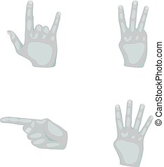 Index.freedom.palts.Hand gestures set collection icons in monochrome style vector symbol stock illustration web.