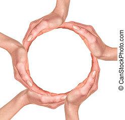 indgåelse, cirkel, menneske rækker