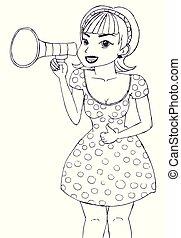 indgåelse, pige, megafon, kundgørelse
