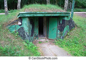indgang, into, bunker