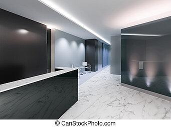 indgang, kontor, område