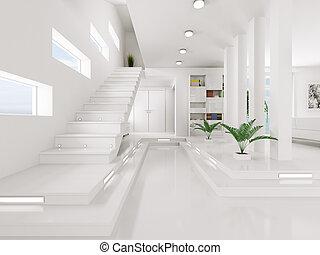 indgang, render, interior, hvid, hal, 3