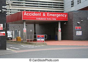 indgang, ulykke, nødsituation