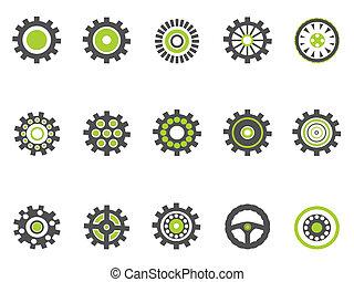 indgreb, cog, series, grønne, iconerne