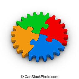 indgreb, i, farverig, jigsaw gåde