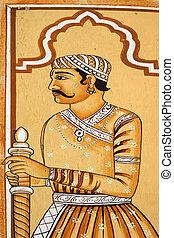 indián, dějinný, válečník, malba