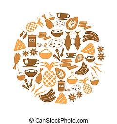 indián food, námět, dát, o, jednoduchý ikona, do, kruh, eps10