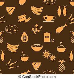 indián food, námět, dát, o, jednoduchý ikona, seamless, hněď, model, eps10