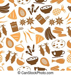 indián food, námět, dát, o, jednoduchý ikona, seamless, model, eps10