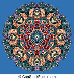 indián, znak, o, lotus přivést do květu