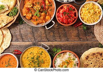indiër, geassorteerd, voedingsmiddelen