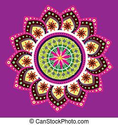indiër, kleurrijke, model