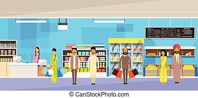 indiër, mensen, groep, met, zakken, groot, winkel,...