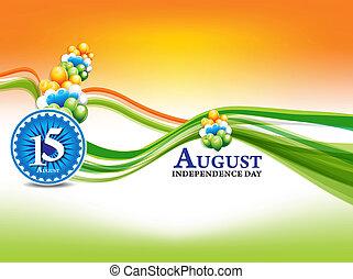 indiër, onafhankelijkheid dag, achtergrond, met, golf