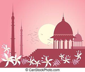 indiër, roos, ondergaande zon