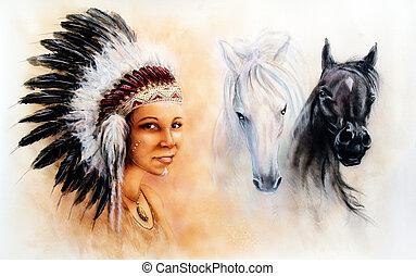 indiër, schilderij, mooie vrouw, vervelend, illustratie, jonge