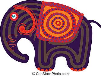 indiër, spotprent, elefant