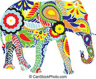indi, silhouette, elefant