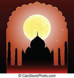 India-1 - Indian moon night Taj Mahal temple and old arch