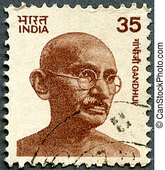 INDIA - 1978: shows portrait of Mohandas Karamchand Gandhi -...
