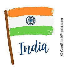India. Abstract vector background with lettering and grunge flag