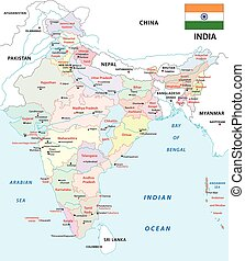 india administrative map with flag